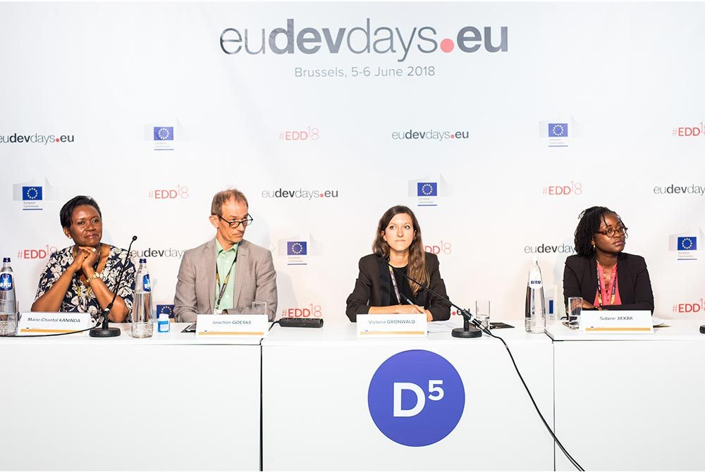 Levin Sources' Responsible Sourcing and Development Specialist Victoria Gronwald presenting on gender issues in artisanal and small-scale mining at the European Development Days 2018